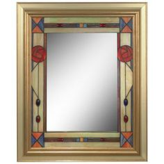 "Dale Tiffany Rose Mission 34"" High Art Glass Wall Mirror -"
