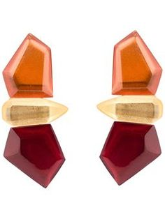 stacked facet clip on earrings