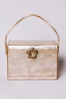 Rare vintage pearl lucite box purse from the 1950s, by Wilardy