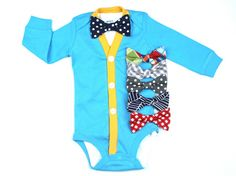 SALE : Cardigan and Bow Tie Set - Blue and Orange - You Pick Bow Tie
