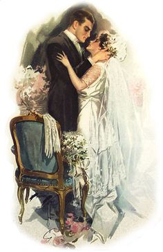 Discover the romance of a traditional wedding. Have a unique wedding with a traditional wedding ceremony. Decoupage Vintage, Wedding Art, Trendy Wedding, Wedding Kiss, Wedding Ceremony, Wedding Drawing, Wedding Painting, Vintage Couples, Vintage Ladies
