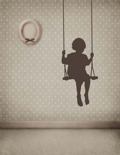 Toddler Boy or Girl in a Swing - Vinyl Decal, Vinyl Sticker, Wall Sticker, Wall Decal, Bedroom, Playroom, Home Decor. $59.00, via Etsy.