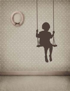 Toddler Boy or Girl in a Swing - Vinyl Decal, Vinyl Sticker, Wall Sticker, Wall Decal, Bedroom, Playroom, Home Decor. $59.00, via Etsy.