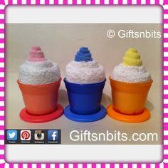 Mini Ice Cream Sundays contain ; 1 food pot with lid , 1 washcloth and  1 mini washcloth . www.giftsnbits.com Shower Ideas, Baby Gifts, Ice Cream, Baby Shower, Treats, Mini, Food, No Churn Ice Cream, Babyshower