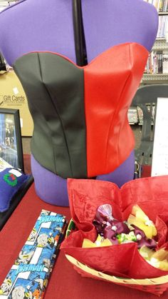 Harley Quinn Faux Leather Boning Free Corset by ManicMacawBoutique