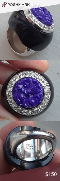 Kenneth Jay Lane Gorgeous cocktail ring sz 7 Great show piece, silver KJL ring. It's new, but has been used on air in a sales presentation. From a very famous network.  Size 7. Black with blue etched floral design and gemstones.  Definitely a conversation piece. GREAT DEAL 😃 Kenneth Jay Lane Jewelry Rings