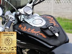 Hand stitched, custom tank covering and motorcycle bags, handmade leathercraft for chopper or cruiser motorcycles.