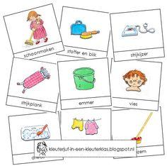 Activiteiten met woordkaarten bij het thema 'Schoonmaken' (met tekeningen van Dagmar Stam)