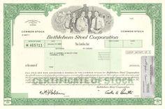 Bethlehem Steel Corporation > Pennsylvania manufacturing stock certificate share