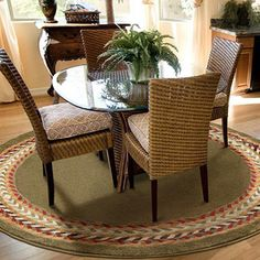 Orian Braid Border Round Rug, Cactus @Maurylyne Wilson What do you think of rug on carpet under the dining room table?