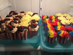 """Snow cone"" and ""sundae"" cupcakes"