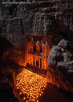 The Treasury is the most easily recognized ruin at the World Heritage site of Petra in Jordan. A few nights a week the local bedouin hold a light show at the base of this remarkable rock cut temple, hundreds of candles are lit to provide a wonderful spectacle of light. Andrew Waddington