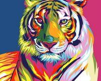 Pintura sem moldura por números pintura por número de casa decoração da lona pintura 4050 tigre colorido
