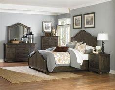 Brenley Natural Umber Wood Glass 5pc Bedroom Set w/Queen Bed