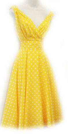 Neu Punkt Pin Up Vintage1950s Stil Gelb Punkt Swing Kleid