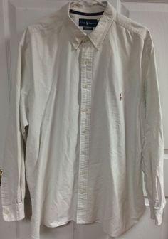 Ralph Lauren Classic Fit White Button Up Long Sleeve Shirt Size 2XB 2X Big 2XL  #RalphLauren #ButtonFront