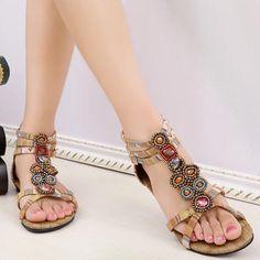 12123822e4ed Bohemia Bead Crystal Zipper Peep Toe Beach Sandals - Banggood Mobile Beach  Sandals