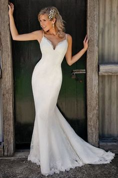 Lovelybride Charming Spaghetti Straps V Neck Lace Mermaid Wedding Dress 2016 at Amazon Women's Clothing store: