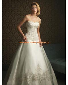 Elegante Maßgeschneiderte Brautkleider aus Satin A-Linie mit schleppe