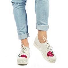 Pantofi casual dama Flower white