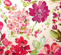 Watercolor Floral Curtain Panels Pink Floral by asmushomeinteriors