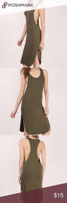 🍸 TOBI Sexy Midi Dress in Olive • Size M 🍸 🎉🍸TOBI midi dress in Olive • wore only 1 time • Size M • super sexy • super low sides • high slits and a curved hemline • fun and flirty 🍸🎉 Tobi Dresses Midi
