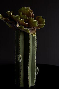 Cactus vase with our faux desert palm plant abigailahern.com