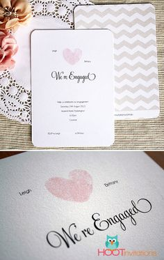 Thumbprint Heart Engagement Invitation from www.hootinvitations.com.au #thumbprintheart #engagementinvitation #heartinvitation