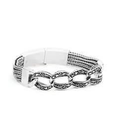 Mens silver dazzlign multi chain linked bracelet.. In a class of it's own!