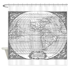 World Map White On White Shower Curtain White Shower - Hand lettered us map black and white shower curtain