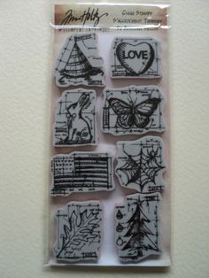 Tim-Holtz-s-039-accrocher-timbres-heureux-tout-Blueprints-Entierement-neuf-sous-emballage-Look