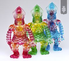 Cop A Squat Toys - Semi Korosiya RG Clear Soft Japanese Vinyl with clear spray, screen printed insert, and tinsel. Comes in a screen printed box.