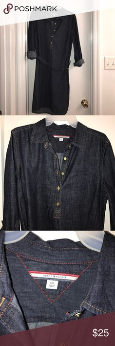 Tommy Hilfiger size L denim shirt dress. Size L NWOT denim Tommy Hilfiger shirt dress. Purchased to wear for my rehearsal dinner and wore a different dress. Fits true to size. I wear a 14 dress size and this fits perfectly. Cat-friendly, smoke free home. Make an offer! Tommy Hilfiger Dresses