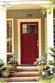 Red front door (color is Wild Currant by Benjamin Moore).to our front door. Exterior Paint Colors, Exterior House Colors, Paint Colors For Home, Exterior Design, Paint Colours, Pintura Exterior, Front Door Colors, Colored Front Doors, Colored Door