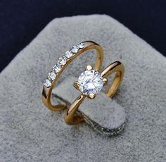 Đồ trang sức thời trang New gold plated điền CZ zircon finger nhẫn set món quà cưới cho phụ nữ ladies sỉ R1373