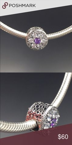 """Pandora Charm NWOT Pandora """"Forget Me Not"""" charm. Sterling silver and cubic zirconia. Properly hallmarked S925 ALE. Pandora box not available. No trades or off-Posh transactions. Thanks and happy Poshing!! Pandora Jewelry Bracelets"""