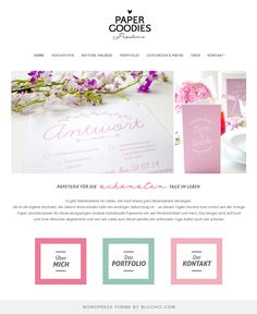Website design for paper and custom stationery design. Using Geraldine WordPress Theme http://www.bluchic.com/shop/wordpress-themes/geraldine-theme