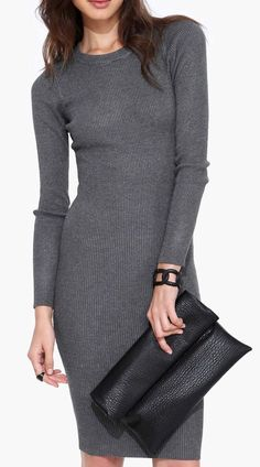 Madeline Sweater Dress in Charcoal