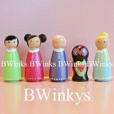 SSooo Cute!!  Wooden Doll Play Set BWinks BWinkys Wooden Dolls by BWinks on Etsy, $48.00