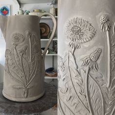 """Chinese Root Nail"" aka Dandelion on a large pitcher. Red Chair Studio Clay"