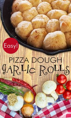 These yummy pull-apart garlic rolls are super easy to make because of their use of store-bought vegan pizza dough. They can be baked and served in a cast iron pan for a rustic flair or in a round baking dish.         #GarlicRolls #DinnerRolls #VeganRecipes #Vegan #SemiHomemade#CastIron #CastIronRecipes #PizzaDough #CarlaChadwick Easy To Make Appetizers, Recipes Appetizers And Snacks, Easy Dinner Recipes, Real Food Recipes, Vegan Recipes, Bread Recipes, Pizza Recipes, Yummy Recipes, Baking Recipes