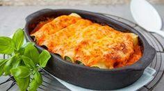 Cannelloni met zalm, ricotta, spinazie en romige tomatensaus