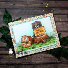 Howdy and happy Thursday! Happy Fall Y'all, Happy Thursday, Digital Stamps, Dusty Blue, Pattern Paper, Some Fun, Autumn Leaves, Squirrel, Different Colors