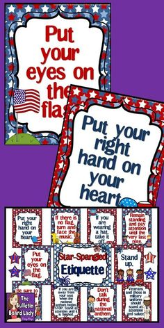 """Looking for a patriotic bulletin board that will help your students be more respectful? Star-Spangled Etiquette is the title of this eye-catching display that will teach viewers how to behave during the """"Star-Spangled Banner"""". Star Spangled Banner Etiquette"""