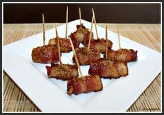 Bacon Wrapped Water Chestnuts, Super Simple Appetizer Recipe My family always loved a version made with a tomato based sauce. Find it! Quick And Easy Appetizers, Easy Appetizer Recipes, Yummy Appetizers, Easy Recipes, Bacon Wrapped Water Chestnuts, Bacon Wrapped Appetizers, Bacon Wrapped Pineapple, Breakfast Casserole, Easy Meals