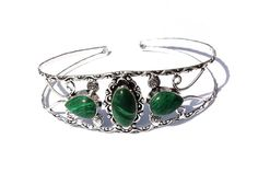 3 Stone Bangle Bracelet / Malachite Cuff by RareGemsNJewels