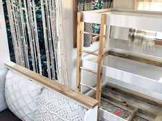 Caravan bunk bed - the making of triple caravan bunk beds. Caravan Bunk Beds, Rv Bunk Beds, Bunk Beds For Girls Room, Diy Caravan, Bunk Bed Ladder, Caravan Living, Triple Bunk Beds, Bunk Bed Plans, Bunk Beds Built In