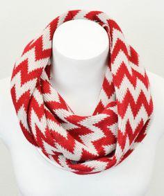 Red & White Zigzag Infinity Scarf