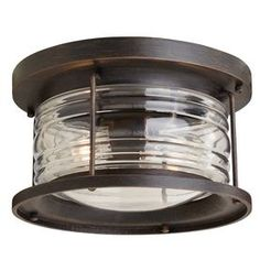 "allen + roth Stonecroft 12-in W Rust Outdoor Flush-Mount Light from Lowes.  12""diam x 6.81""H.  $89"
