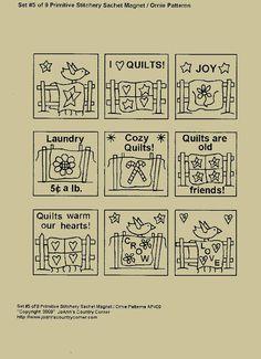 Primitive Stitchery EPattern Set of 9 by JoAnnCountryCorner, $2.25